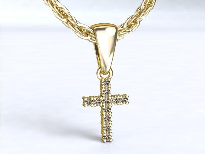 Přívěsek křížek bílé zlato 3Dstyl