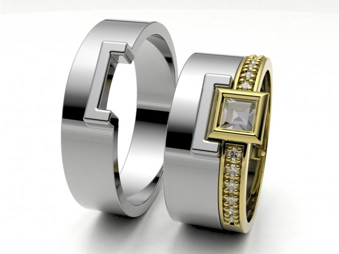 Skládací snubní prsteny bílé zlato 3308201