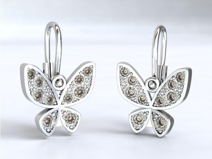 Zlaté dětské náušnice motýlek 1220201