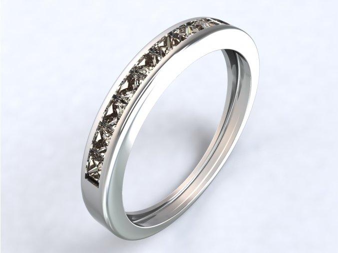 Stříbrný prsten řada čtverců 315901