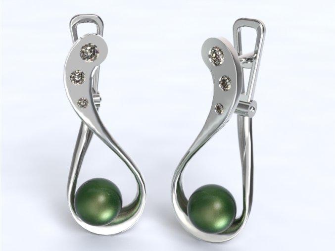 Zlaté náušnice patent s kameny a perlou 1203301