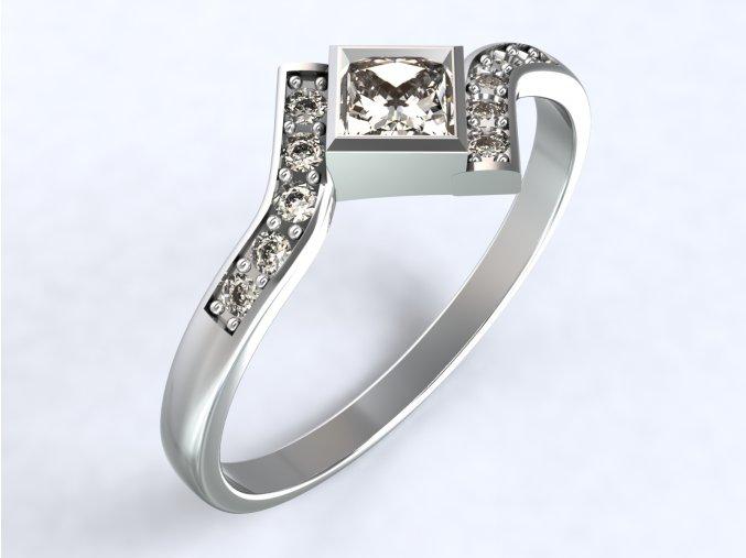 Stříbrný prsten čtverec uprostřed 317401