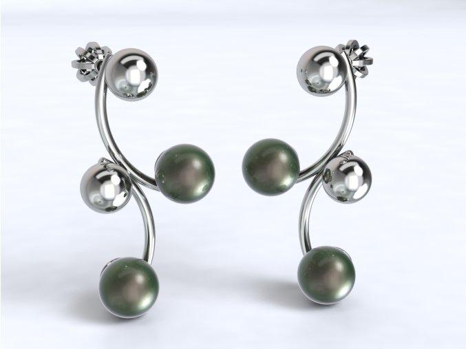 Stříbrné náušnice esíčko s kuličkami a perlou 219601