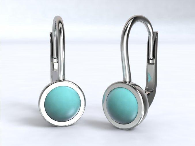 Stříbrné náušnice s barevným kamínkem 227501