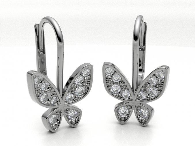 Stříbrné náušnice motýl se zirkony na klapku 227801
