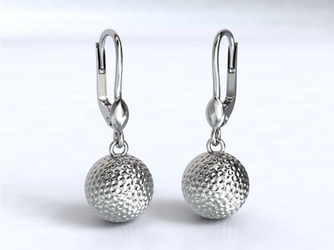 Stříbrné náušnice golfový míček 227901