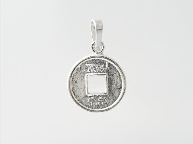 Stříbrný přívěsek čínská mince 113801