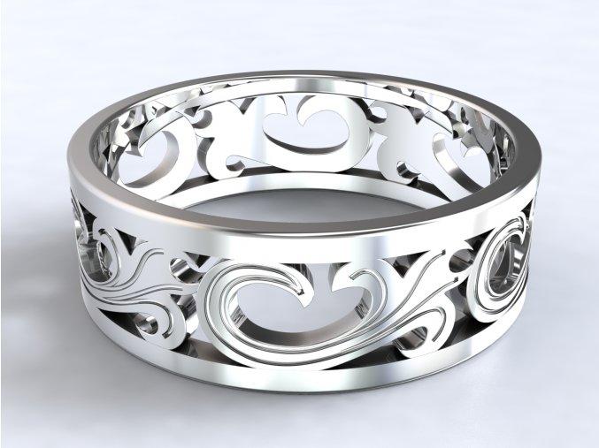 Stříbrný prsten lilie