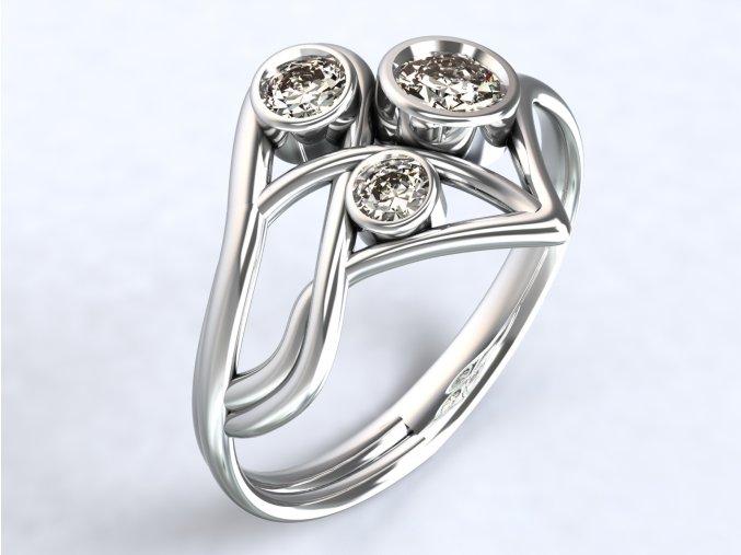 Ag925 prsten špička tři zirkony