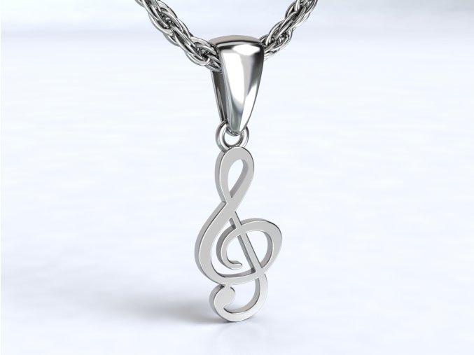 Stříbrný přívěsek houslový klíč bez kamenů 121201