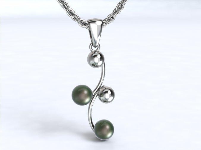 Stříbrný přívěsek esíčko s kuličkami a perlou 122001