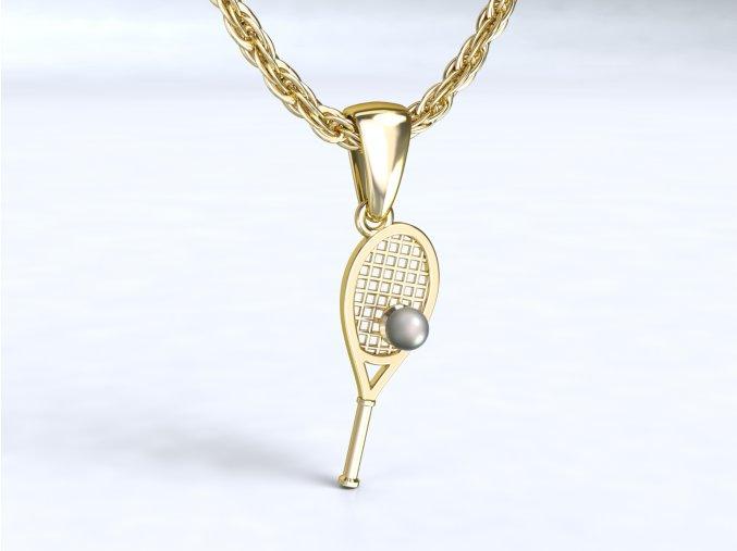 Zlatý přívěsek tenisová raketa s míčkem 1108001