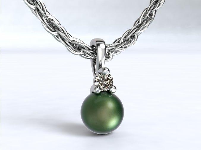 Zlatý přívěsek s perlou a zirkonem 1108301