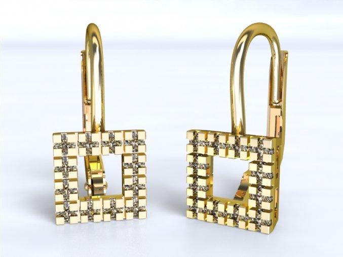 Zlaté náušnice čtvereček 1205801