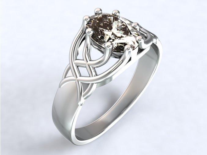 Stříbrný prsten liány s oválem 319301