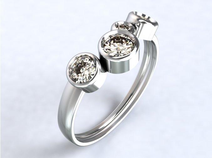 Stříbrný prsten čtyři kotlíky