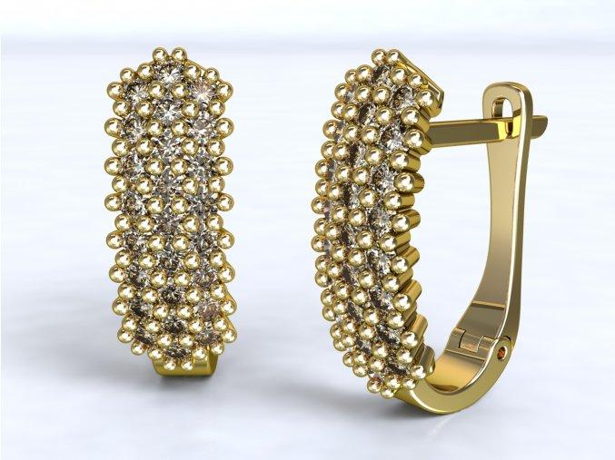 Zlaté náušnice patent se zirkony 1206101