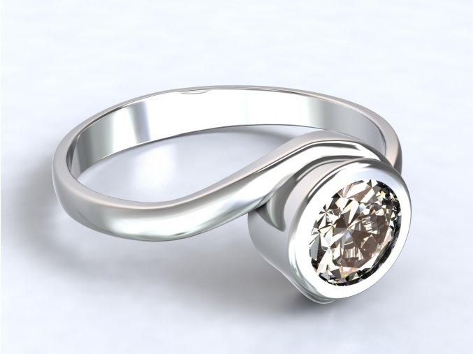 Prsten se zirkonem přetočený stříbrný 320101