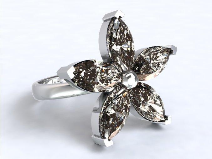 Stříbrný prsten kytka 326301