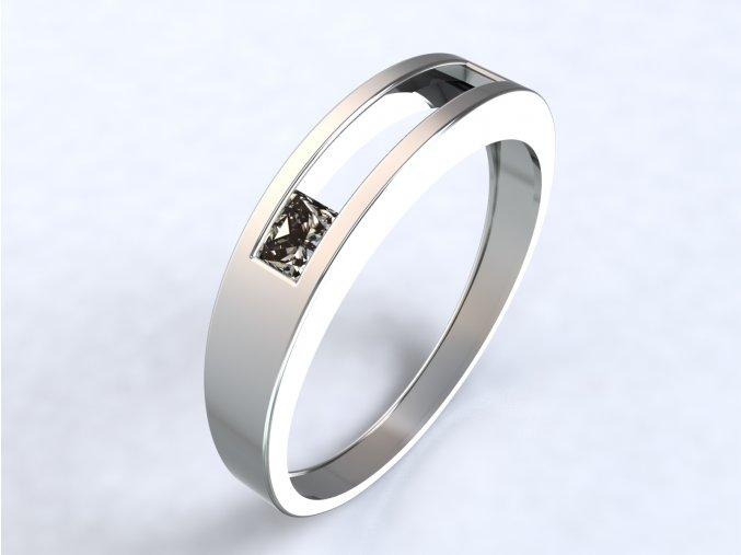Stříbrný prsten se čtvercem na kraji