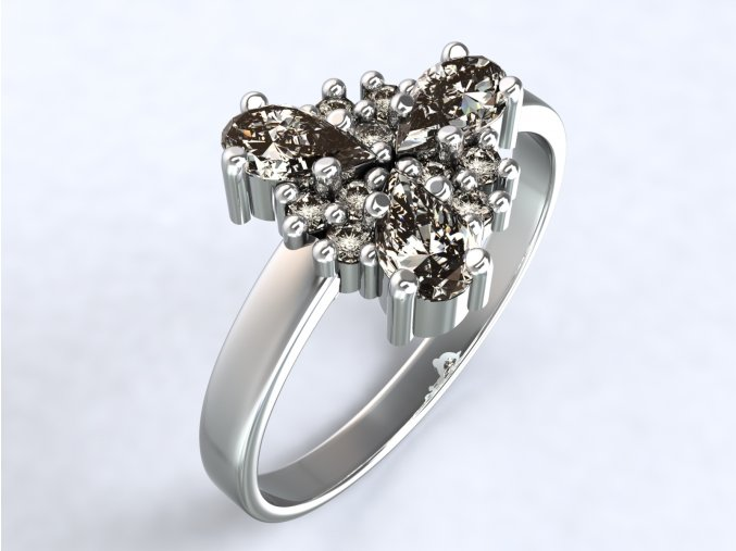 Stříbrný prsten trojlístek 320401