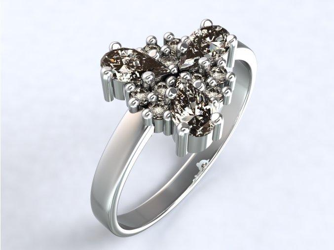 Stříbrný prsten trojlístek