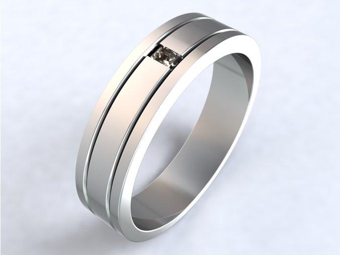 Stříbrný prsten dvě linky