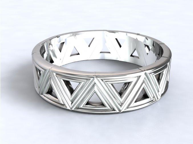 Stříbrný prsten trojúhelníky 322501