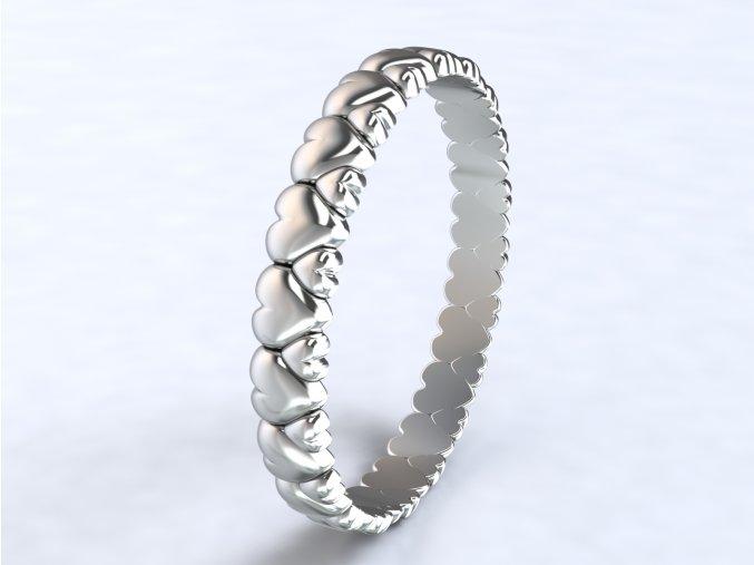 Stříbrný prsten srdíčka obvod