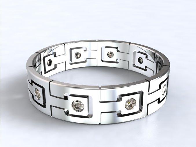 Stříbrný prsten zámky 323801