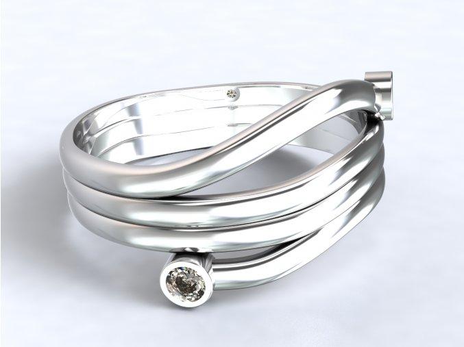 Stříbrný prsten alien