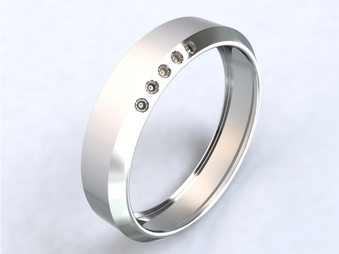 Ag925 prsten zkosený, zirkony na okraji