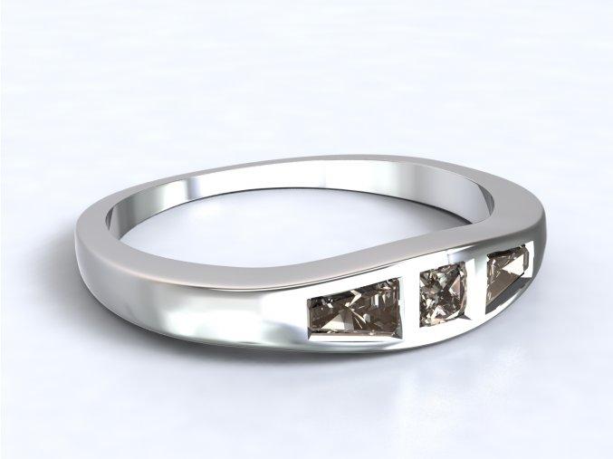 Stříbrný prsten lichoběžníky na boku 324401