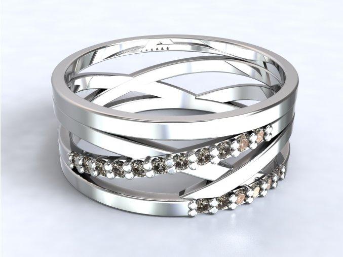 Stříbrný prsten výhybka zirkony 324501