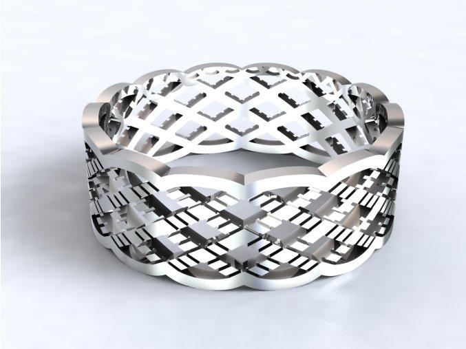 Stříbrný prsten mesh