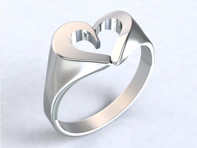 Ag925 prsten srdce celostříbrný
