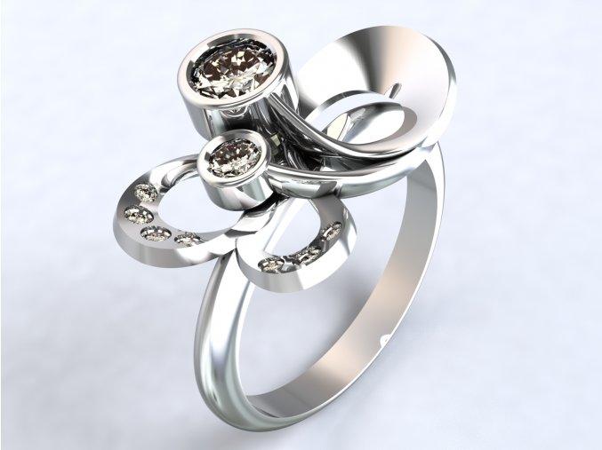 Stříbrný prsten kytka velká