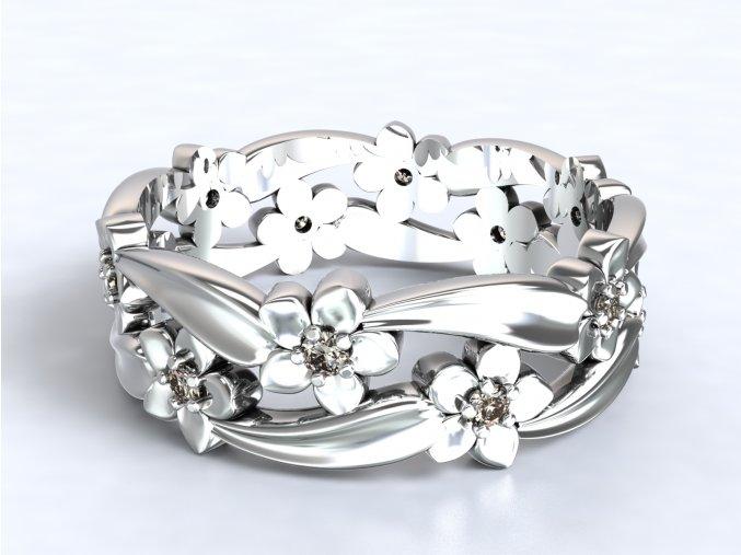Stříbrný prsten kytičky v liáně