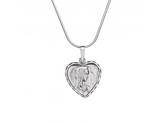 Přívěsek madona v srdíčku stříbrná 012601