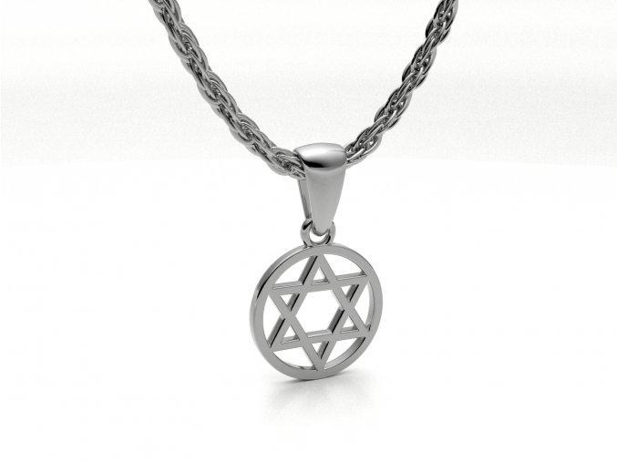 Přívěsek Davidova hvězda v kroužku stříbrná malá