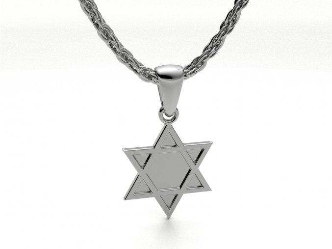 Přívěsek Davidova hvězda stříbrná plná 050701