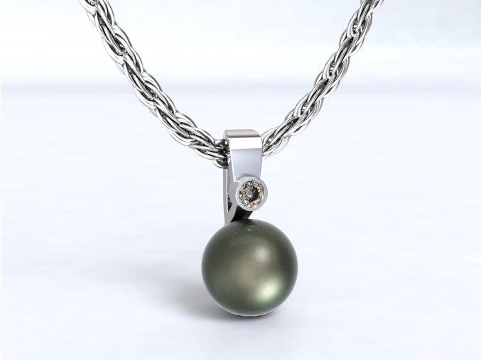 Přvěsek perla se zirkonem stříbrný 104401