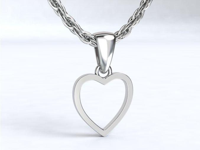 Stříbrný přívěsek srdce prázdné