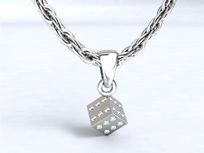 Stříbrný přívěsek kostka 6x6