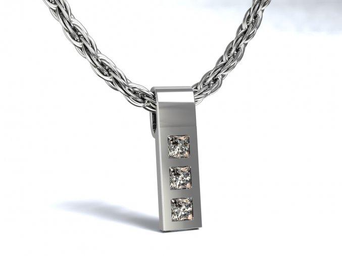 Přívěsek žebřík se zirkony stříbrný 108801