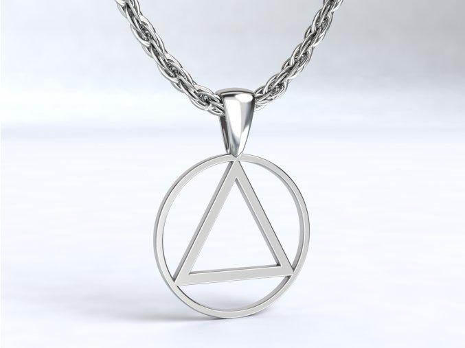 Stříbrný přívěsek trojúhelník v kruhu 110101