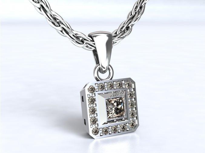 Stříbrný přívěsek čtverec lemovaný 110701