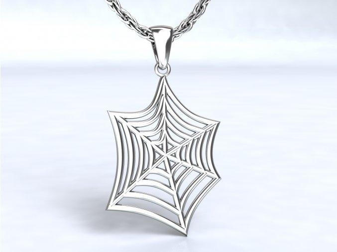 Stříbrný přívěsek pavučina