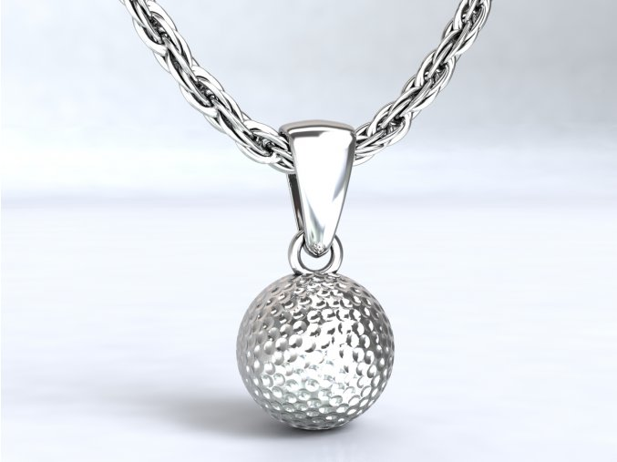 Stříbrný přívěsek golfový míček