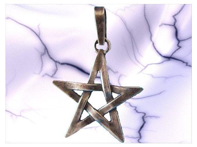 Stříbrný přívěsek pentagram 112201
